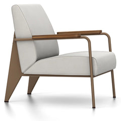 Prouve Fauteuil De Salon Lounge Chair lounge chair Vitra Coffee Oiled American Walnut Twill-light grey