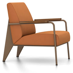 Prouve Fauteuil De Salon Lounge Chair lounge chair Vitra Coffee Oiled American Walnut Twill-cognac