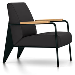 Prouve Fauteuil De Salon Lounge Chair lounge chair Vitra Deep black Oiled Natural Oak Twill-dark grey