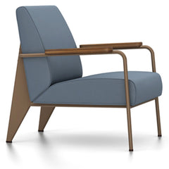 Prouve Fauteuil De Salon Lounge Chair lounge chair Vitra Coffee Oiled American Walnut Twill-blue-grey