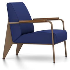 Prouve Fauteuil De Salon Lounge Chair lounge chair Vitra Coffee Oiled American Walnut Twill-ink blue