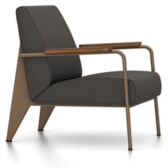 Prouve Fauteuil De Salon Lounge Chair lounge chair Vitra Coffee Oiled American Walnut Twill-black