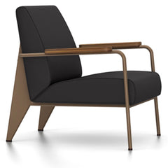 Prouve Fauteuil De Salon Lounge Chair lounge chair Vitra Coffee Oiled American Walnut Twill-dark grey