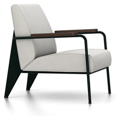 Prouve Fauteuil De Salon Lounge Chair lounge chair Vitra Deep black Oiled Smoked Oak Twill-light grey