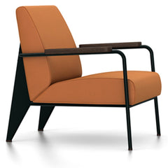 Prouve Fauteuil De Salon Lounge Chair lounge chair Vitra Deep black Oiled Smoked Oak Twill-cognac