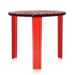 "T-Table side/end table Kartell High-17.3"" Transparent Red"