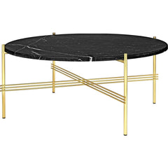TS Round Coffee Table - Marble Top Tables Gubi Brass Black Marquina Marble Medium: Dia 31.5""