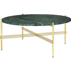TS Round Coffee Table - Marble Top Tables Gubi Brass Green Guatemala Marble Medium: Dia 31.5""