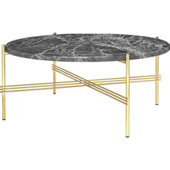 TS Round Coffee Table - Marble Top Tables Gubi Brass Grey Emperador Marble Medium: Dia 31.5""