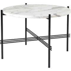 TS Round Coffee Table - Marble Top Tables Gubi Black White Carrara Marble Small: Dia 21.7""