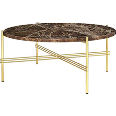 TS Round Coffee Table - Marble Top Tables Gubi Brass Brown Emperador Marble Medium: Dia 31.5""