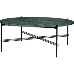 TS Round Coffee Table - Marble Top Tables Gubi Black Green Guatemala Marble Large: Dia 41.3""