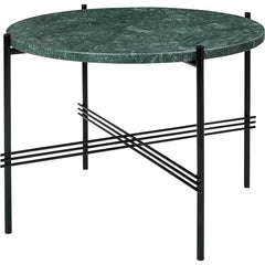 TS Round Coffee Table - Marble Top Tables Gubi Black Green Guatemala Marble Small: Dia 21.7""