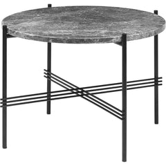 TS Round Coffee Table - Marble Top Tables Gubi Black Grey Emperador Marble Small: Dia 21.7""
