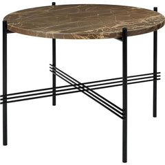 TS Round Coffee Table - Marble Top Tables Gubi Black Brown Emperador Marble Small: Dia 21.7""