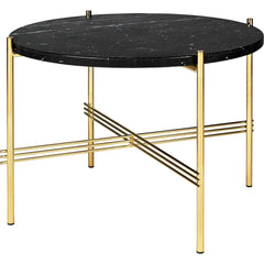 TS Round Coffee Table - Marble Top Tables Gubi Brass Black Marquina Marble Small: Dia 21.7""