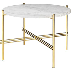 TS Round Coffee Table - Marble Top Tables Gubi Brass White Carrara Marble Small: Dia 21.7""