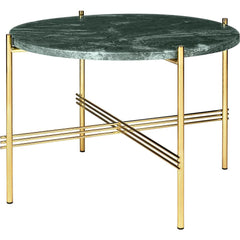TS Round Coffee Table - Marble Top Tables Gubi Brass Green Guatemala Marble Small: Dia 21.7""