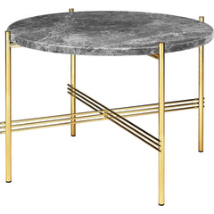 TS Round Coffee Table - Marble Top Tables Gubi Brass Grey Emperador Marble Small: Dia 21.7""