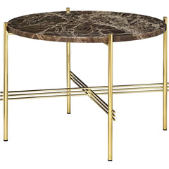 TS Round Coffee Table - Marble Top Tables Gubi Brass Brown Emperador Marble Small: Dia 21.7""