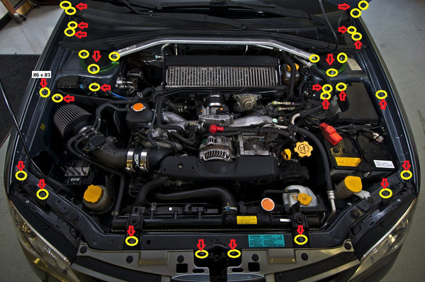Subaru WRX Engine Bay Hardware