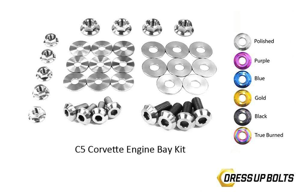 Chevrolet C5 Corvette & Z06 (1997-2004) Titanium Dress Up Bolts Engine Bay Kit - DressUpBolts.com