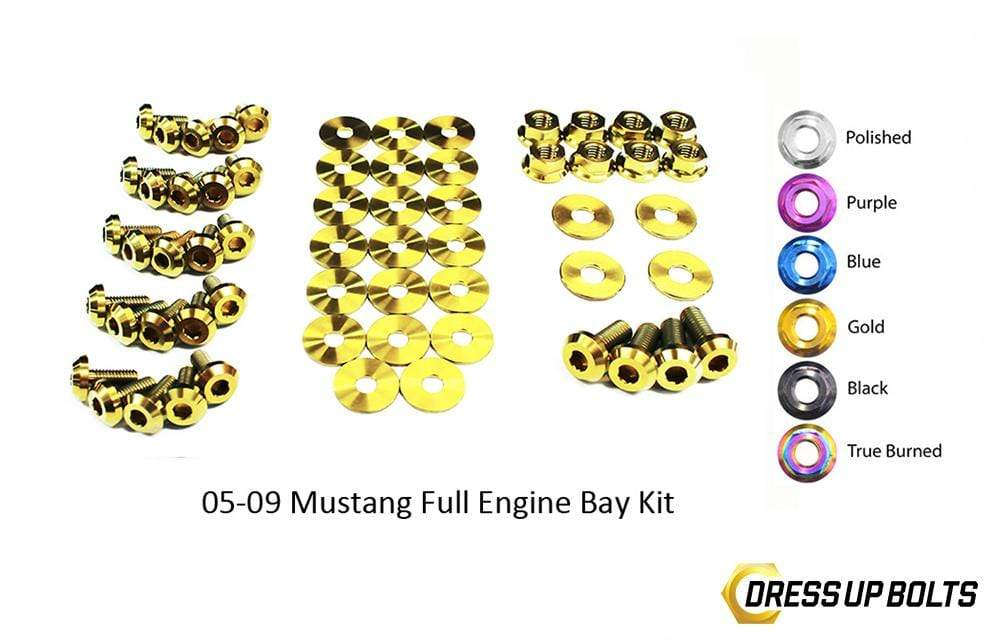 Ford Mustang (2005-2009) Titanium Dress Up Bolts Full Engine Bay Kit - DressUpBolts.com