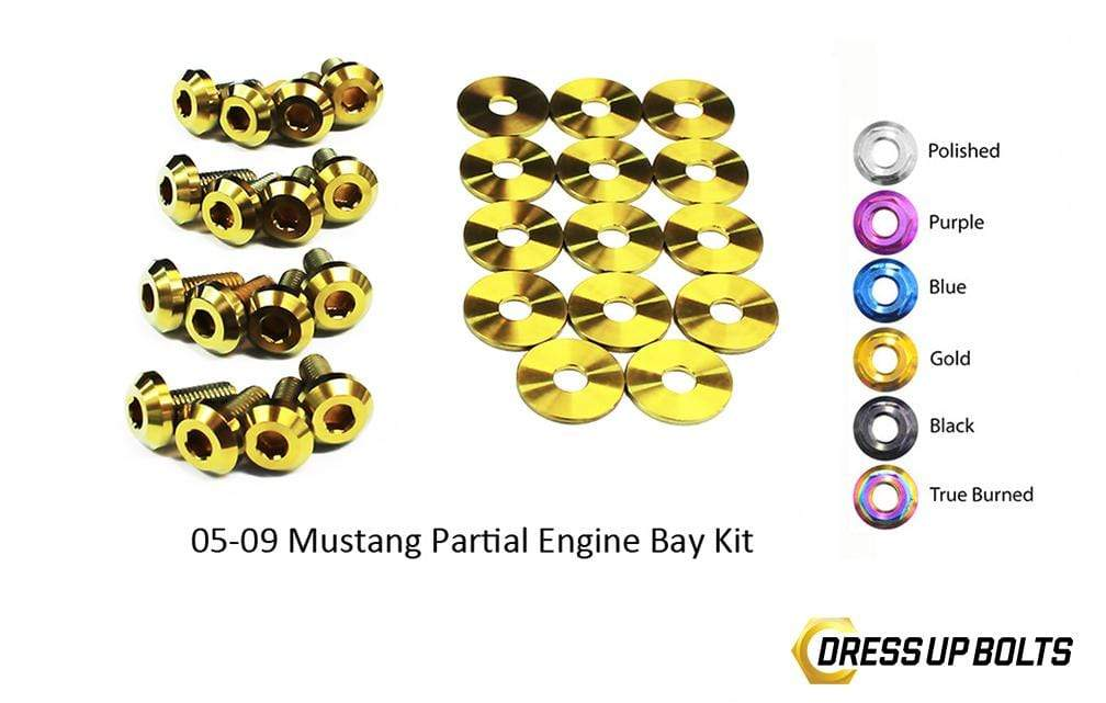 Ford Mustang (2005-2009) Titanium Dress Up Bolts Partial Engine Bay Kit - DressUpBolts.com
