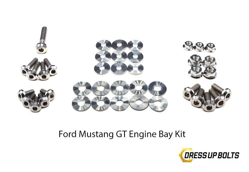 Ford Mustang GT (2015-2019) Titanium Dress Up Bolts Engine Bay Kit - DressUpBolts.com
