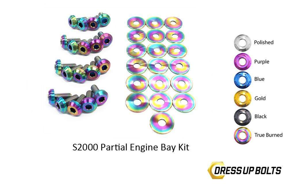 Honda S2000 (2000-2009) AP1/AP2 Titanium Dress Up Bolts Partial Engine Bay Kit - DressUpBolts.com