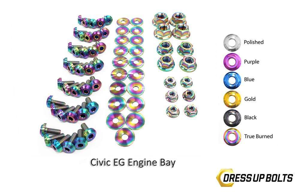 Honda Civic EG (1992-1995) Titanium Dress Up Bolts Full Engine Bay Kit - DressUpBolts.com