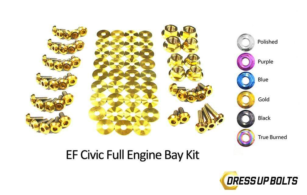 Honda Civic EF (1988-1991) Titanium Dress Up Bolts Full Engine Bay Kit - DressUpBolts.com