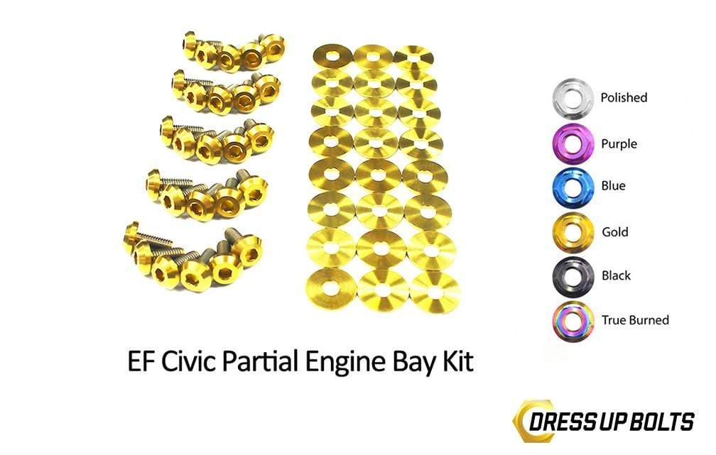 Honda Civic EF (1988-1991) Titanium Dress Up Bolts Partial Engine Bay Kit - DressUpBolts.com