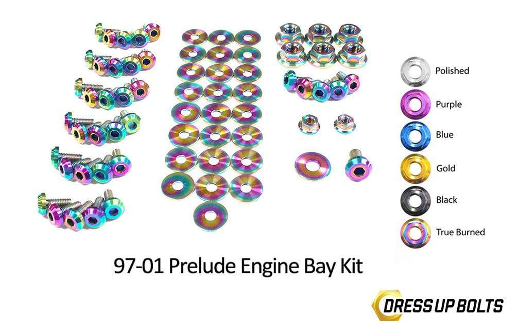 Honda Prelude (1997-2001) Titanium Ti Dress Up Bolts Engine Bay Kit - DressUpBolts.com