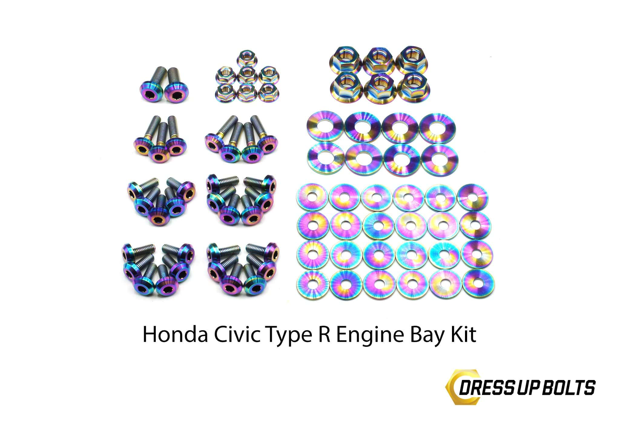Honda Civic Type R (2017-2019) Titanium Dress Up Bolt Full Engine Bay Kit - DressUpBolts.com