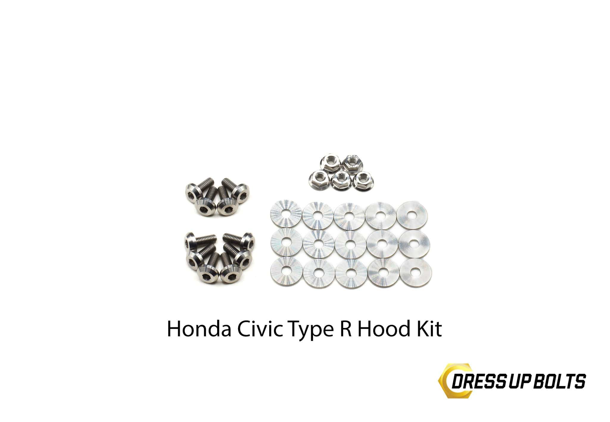 Honda Civic Type R (2017-2019) Titanium Dress Up Bolts Hood Kit - DressUpBolts.com