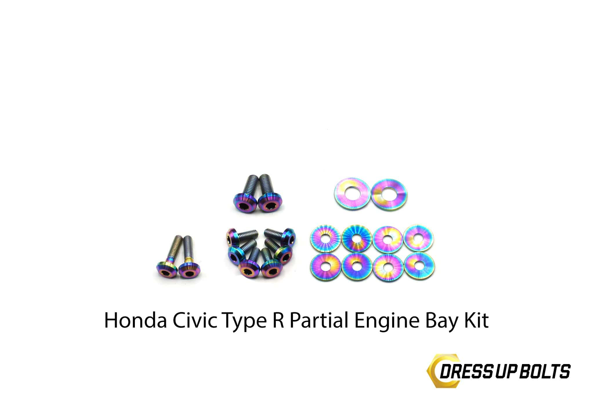 Honda Civic Type R (2017-2019) Titanium Dress Up Bolt Partial Engine Bay Kit - DressUpBolts.com