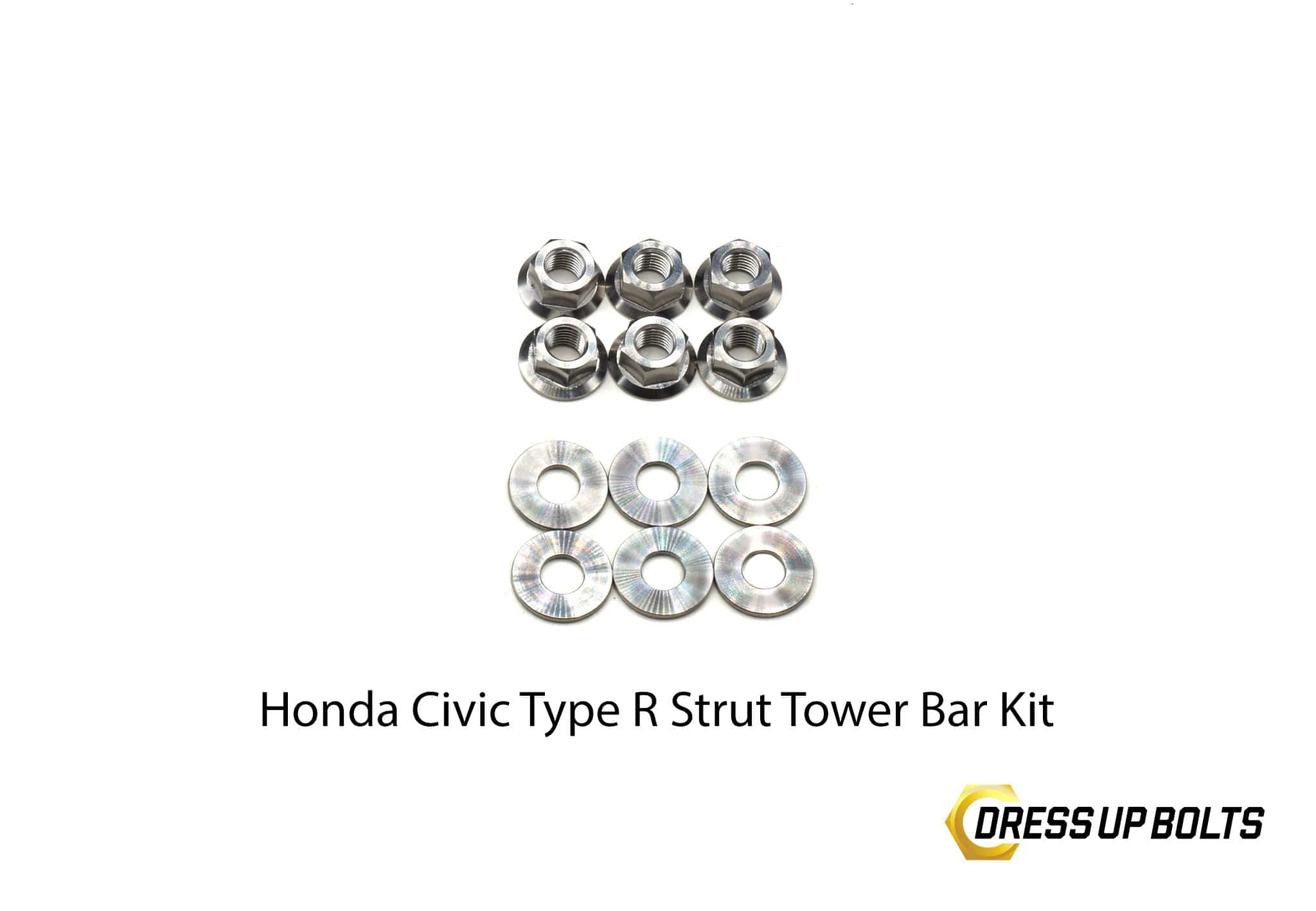 Honda Civic Type R (2017-2019) Titanium Dress Up Bolt Strut Tower Bar Kit - DressUpBolts.com