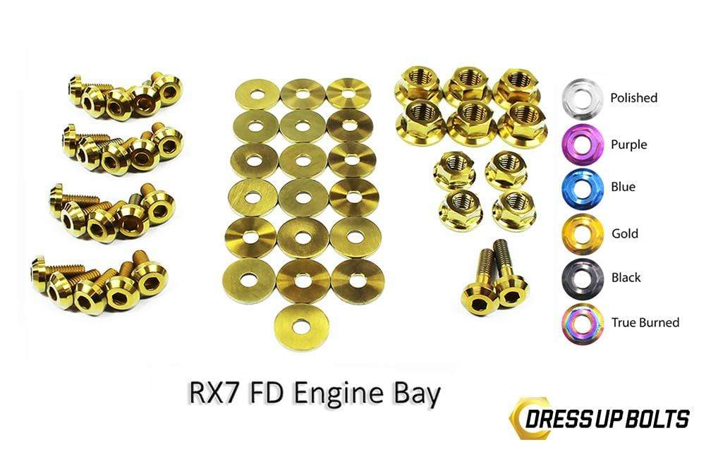 Mazda RX-7 FD/FD3S (1992-2002) Titanium Dress Up Bolts Engine Bay Kit - DressUpBolts.com