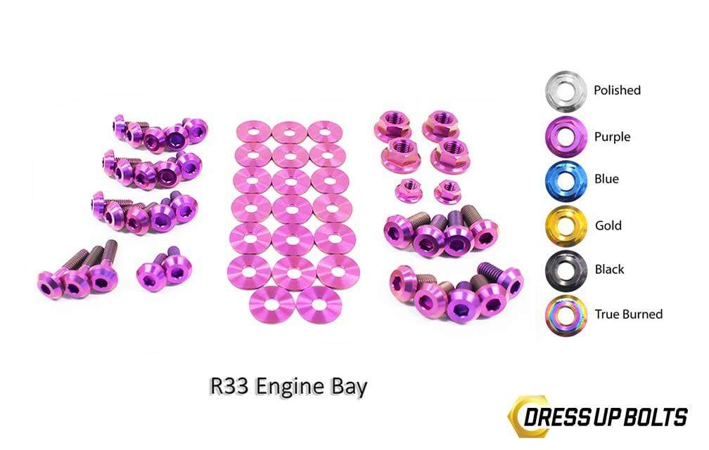Nissan Skyline R33 (1993-1998) Titanium Dress Up Bolts Engine Bay Kit - DressUpBolts.com