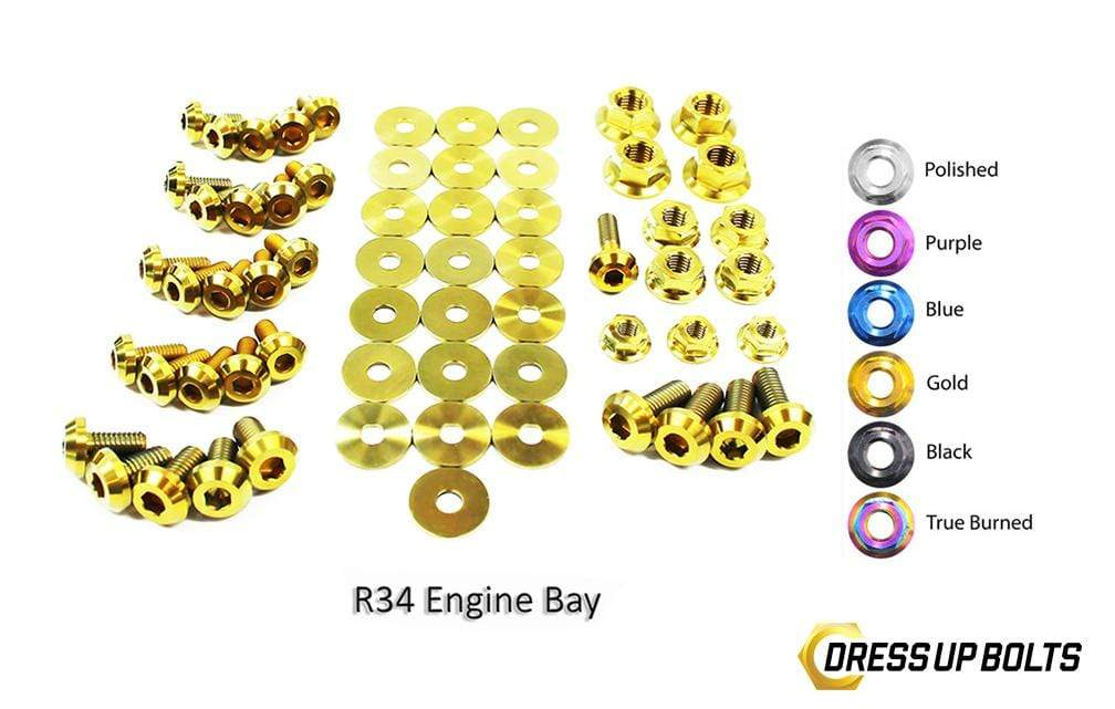 Nissan Skyline R34 (1998-2002) Titanium Dress Up Bolts Engine Bay Kit - DressUpBolts.com