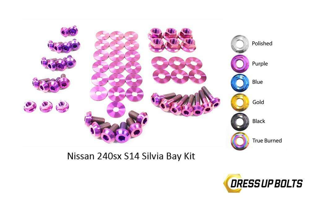 Nissan S14 240sx (1995-1998) Titanium Dress Up Bolts Engine Bay Kit - DressUpBolts.com