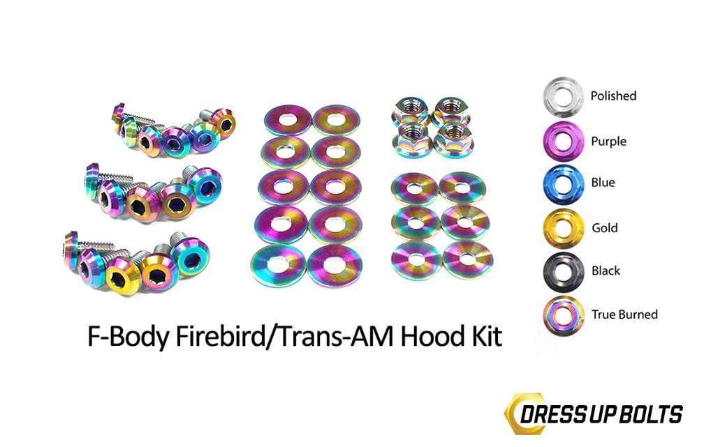 Pontiac Firebird/Trans Am (1998-2002) F-Body Titanium Dress Up Bolts Hood Kit - DressUpBolts.com