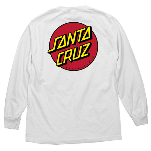 Santa Cruz Classic Dot Long Sleeve T-Shirt White