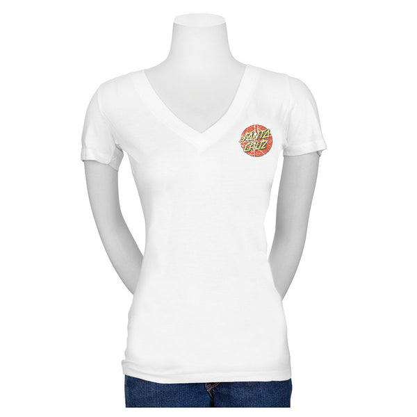 Santa Cruz Classic Dot Fitted V-Neck Juniors T-Shirt White