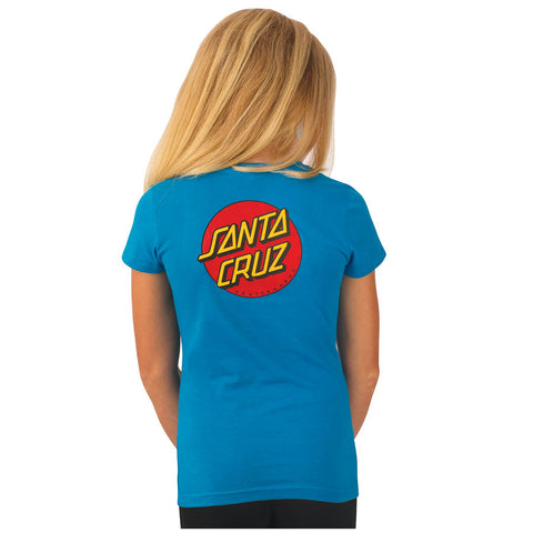 Santa Cruz Classic Dot Fitted Girls Youth T-Shirt Turquoise