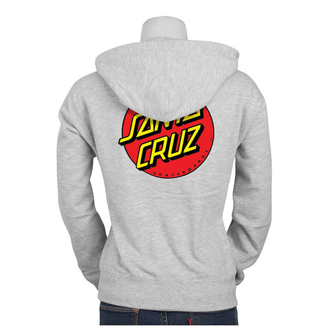 Santa Cruz Classic Dot Hooded Pullover Juniors Sweatshirt Grey Heather
