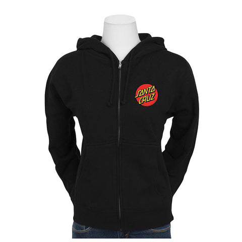 Santa Cruz Classic Dot Hooded Zip Juniors Sweatshirt Black