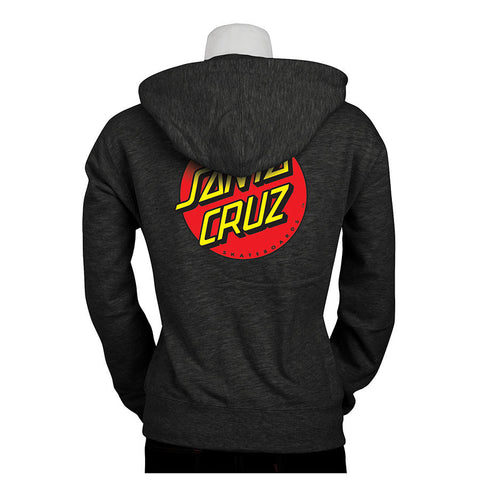 Santa Cruz Classic Dot Hooded Zip Sweatshirt Juniors Charcoal Heather