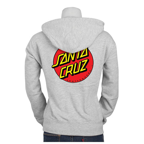 Santa Cruz Classic Dot Hooded Zip Sweatshirt Juniors Grey Heather
